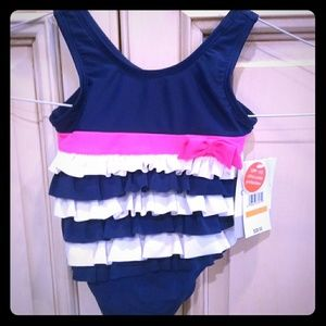 NWT carters sz 12m blue/ pink swimsuit